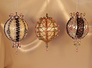 Pink and Green set of three Victorian Christmas Tree Ornaments